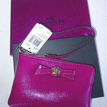 Nwt Coach Magenta Patent Leather Wristlet/original Box/phenomenal/great Gift Wow Photo