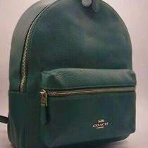 Nwt Coach Medium Charlie Leather Backpack Color Sv/dark Turquoise Photo