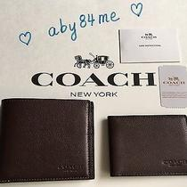 Nwt Coach Men's Compact Id Wallet in Sport Calf Leather F74991 Mahogany Photo