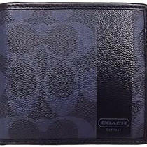 Nwt Coach Men's Heritage Stripe Leather Bifold Id Leather Coin Wallet Slim Blue Photo