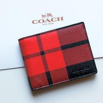 Nwt Coach Men's Mount Plaid Slim Billfold Wallet Leather Red Black Tartan Rare Photo