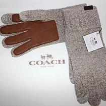 Nwt Coach Men's Oatmeal Leather/wool Tech Glove W/gift Box Size L/xl F83757 Photo