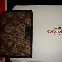 Nwt Coach Men's  Slim Bifold Id Wallet Mahogany/brown Card Case 74742  Gift Bag Photo