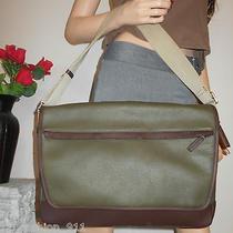 Nwt Coach Men Women Green Pebbled Leather Travel Laptop Book Shoulder Bag Tote Photo