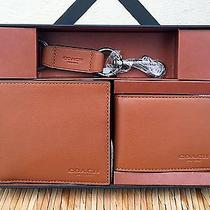 Nwt Coach Mens Compact Id Sport Leather Saddle Wallet F64118 Gift Box 225 Photo