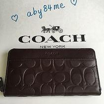 Nwt Coach Mens Signature Leather Accordion Zip Around Wallet F74999 Mahogany Photo