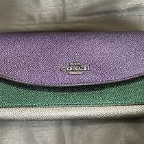 Nwt - Coach Metallic Color Block Leather Slim Envelope Wallet  F55646  Photo