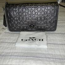 Nwt. Coach Metallic Leather Signature Dinky Clutch Cross-Body Bag Graphite 40649 Photo