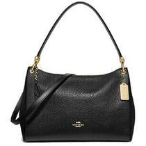 Nwt Coach Mia Black Suede and Pebble Leather Gold Trim Handbag Satchel F76921 Photo