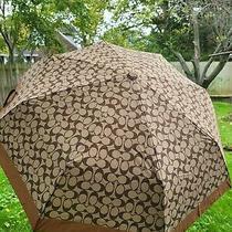 Nwt Coach Mini Signature Umbrella Sv/khaki/saddle Photo