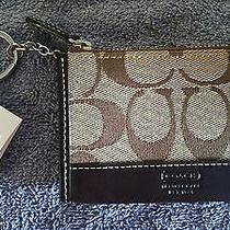 Nwt Coach Mini Skinny Card/coin Case-khaki&mahogany-Signature Print W/ Key Ring Photo
