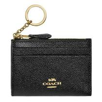 Nwt Coach Mini Skinny Id Case Card Wallet Key Chalk Black Gold F88250 Free Shp Photo