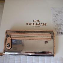 Nwt Coach Mirror Metallic Pewter Wallet F49622 Photo
