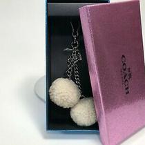 Nwt Coach Natural W/box Pom Pom Fob Key Ring Shearling Bag Charm Gift 64764 Photo