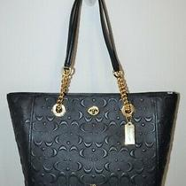 Nwt Coach Navy Blue Embossed Signature Leather Turnlock Tote Bag Purse 577321 Photo