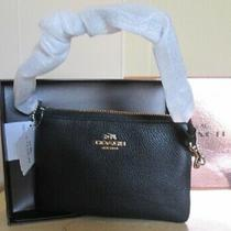 Nwt Coach New York Wristlet Black Polished Pebble Leather Photo