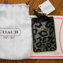 Nwt Coach Ocelot Black Metallic Leopard Lanyard Id Holder Dust Bag Gift Box Photo
