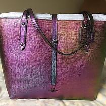 Nwt Coach Oil Slick Hologram Iridescent Leather Market Tote Bag Photo