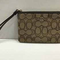 Nwt Coach Outline Signature Corner Zip Wristlet F58033 Khaki/brown Photo