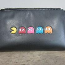 Nwt Coach Pac Man & Ghosts Black Leather Cosmetic Case Multipurpose Pouch Photo