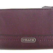 Nwt Coach Park Bordeaux Pebbled Leather Medium Wallet - F50444 Photo