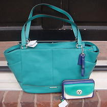 Nwt Coach Park Leather Carrie Tote/hand Bag & Universal Wallet Jade/silver/clrbk Photo