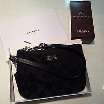 Nwt Coach Parker Signature Black Wristlet in Gift Box Photo