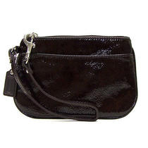 Nwt Coach Patent Leather Wristlet Bag in Mahogany F 47782 Photo