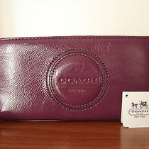 Nwt Coach Patent Leather Zip Accordian Wallet - Berry Photo