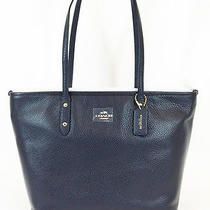 Nwt Coach Pebble Leather City Zip Tote - Navy - 37155m - Msrp 295 Photo