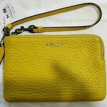 Nwt Coach Pebbled Leather Corner Zip Wristlet  51622 - Saffron/yellow/mustard Photo