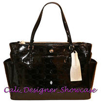 Nwt Coach Peyton Linear Patent Leather Diaper Baby Tote Bag F33491 Black New  Photo