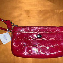 Nwt Coach Peyton Lined Embossed Patent Leather Medium Wristlet F52078 Red Photo