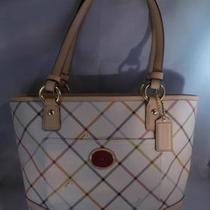 Nwt Coach Peyton Tattersall Tote Handbag Purse F21863 Photo