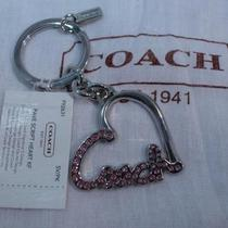 Nwt Coach Pink Pave Crystal Script Heart Key Fob Key Chain Key Ring F92631 Photo