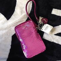 Nwt Coach Pink Sequin Wristlet Iphone 455sse Photo
