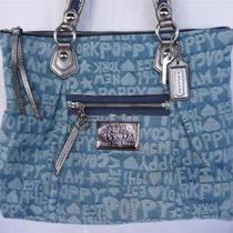 Nwt Coach Poppy Denim Blue Wordblock Glam Tote Purse Bag Photo
