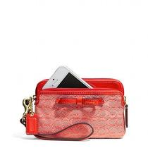 Nwt Coach Poppy Double Zip Wristlet in Signature C Oxford Fits Iphone  Photo