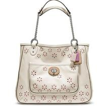 Nwt Coach Poppy Eyelet Leather  Medium Chain Tote White 398 Photo