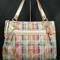 Nwt Coach Poppy Madras Signature Sequin Glam Tote Handbag 19611 Photo