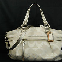 Nwt Coach Poppy Metallic Signature Sateen Rocker 18984 Silver Photo