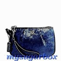 Nwt Coach Poppy Pleated Micro Sequin & Leather Iphone Case Wristlet Blue/silver Photo