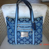 Nwt Coach Poppy Signature Glam Tote ( Blue Jean)   13826 Photo