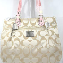 Nwt Coach Poppy Signature Sateen Glam Tote Handbag 18351 Light Khaki Blush Photo