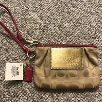 Nwt Coach Poppy Signatures Gold & Hot Pink Patent Trim  Small Wristlet Photo
