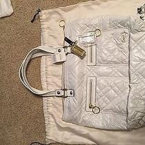 Nwt Coach Poppy Ski Bunny Glam Tote 15873 White With Lilac Interior Msrp 258 Photo