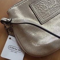 Nwt Coach Poppy Wristlet Wallet Shimmer Gold Champagne F48306 Glitter Photo