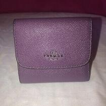 Nwt Coach Purple Leather Trifold Wallet Photo