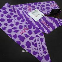 Nwt Coach Purple Ocelot  Leopard  Zebra Animal Ponytail Pony Tail Silk Scarf New Photo