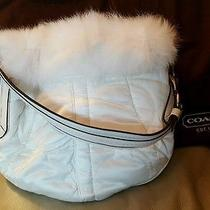 Nwt Coach Quilted Signature Soho Ski Hobo With Rabbit Fur 3586 White New Rare Photo